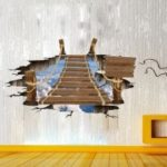 3D Wooden Bridge Personality Creative Wall Stickers
