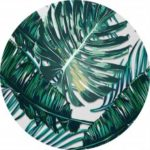 Non Slip Rubber Round Green Leaves Anti-Water Gaming Mouse Pad