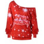 Merry Christmas Plus Size Skew Colllar Sweatshirt