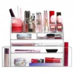 LANGRIA Clear Acrylic Makeup Organizer Countertop Jewelry and Cosmetic Organizer Cosmetic Storage Box Display Case with 5 Drawers, 2 Side Compartments, 12 Lipstick Slots, Transparent