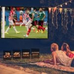 Excelvan 84 Inch 16:9 Collapsible White Portable Projector Cloth Screen With Hanging Hole For Home And Outdoor Use