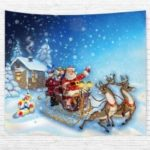 Santa Sleigh 3D Printing Home Wall Hanging Tapestry for Decoration