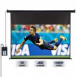 Excelvan 120-inch 16:9 1.2 Gain Wall Ceiling Electric Motorized HD Projector Screen with Remote Control Up and Down for Home and Office