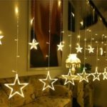 Twinkle 12 Stars LED Curtain String Window Curtain Lights per Natale