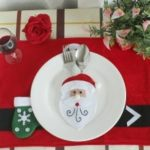 WS Babbo Natale pupazzo di neve renne con Pocket Party Christmas Table Decoration Tab