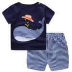19F124L Summer European And American Home Service Boy Treasure Blue Whale Short-sleeved Shorts Suit Cotton Two-piece
