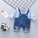 2Pcs Babys Set Voguish Cartoon Top Overalls Set