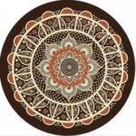 Non Slip Round 20 CM Rubber Brown Flower Gaming Mousepad