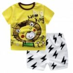 19F124Q Summer Europe And America Home Service Boy Yellow Cartoon Bear Short Sleeve Shorts Set Cotton Two-piece Set