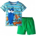 19F124G Summer European And American Home Service Boys Light Blue Cartoon Blue Fish Short Sleeve Shorts Set Cotton Two-piece Set