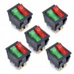 KCD4 AC 250V 16A Black 6P Terminals ON/OFF Double SPST 2 Way Rocker Switch 5Pcs