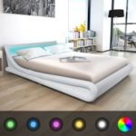 vidaXL Bed frame with LED 160 x 200 cm White synthetic leather