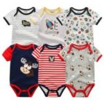 KIDDIEZOOM Baby Cartoon Triangle Romper Jumpsuit 6pcs