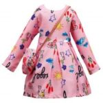 L – 395 Girl Cartoon Letter Printing Long Sleeve Dress