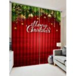2PCS Merry Christmas Star Printed Window Curtains