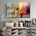 QINGYAZI HQ09002 Hand-painted Abstract Frameless Oil Painting Home Wall Art