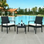 3 pcs Outdoor Rattan Patio Furniture Set Steel Frame and PE Wicker Garden Furniture Set HW53509