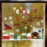 Christmas Elk Sled House Snowflakes Static Sticker Decorative Removable Sticker