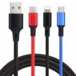 Braided Colorful 3 in 1 8Pin, Type-C, Micro USB Charging Cable 1.2m