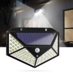 100 LED Solar Powered 1000lm PIR Motion Sensor Wall Light Outdoor Garden Lamp 3 Modes