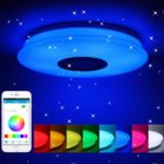 60W Remote Control Bluetooth Music APP Colorful LED Ceiling Light RGB Flush Mount Round Starlight Lamp with Speaker