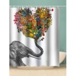 Elephant Flower Heart Printed Waterproof Bathroom Shower Curtain