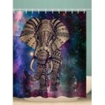 Galaxy Elephant Print Bohemian Shower Curtain