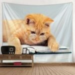 You Can Love Glasses Cat Pattern Print Tapestry Cloth Hanging Home Decoration Animal Series