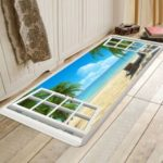 Fashion Beach Scenery Soft Flannel Printed Carpet Floor Mats