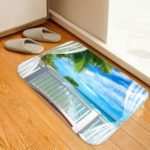 Casual Balcony Seaside Scenery Carpet 3D Printing Pattern Flannel Environmental Non-slip Bath Mat