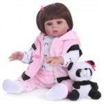 NPK Straight Hair 49CM Reborn Toddler Doll Baby Girl in Panda Dress Full Body Soft Silicone Realistic Toy