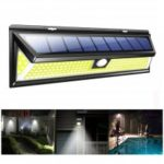 BRELONG BR-0149 180 LED IP65 Solar Wall Light Outdoor Waterproof COB Garden Lamp