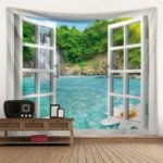 Windows Seascape 3D Digital Printing Creative Home Art Decoration Hanging Tapestry Background Cloth