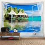 Creative Home Living Room Bedroom Decoration Hanging Cloth Tapestry Cushion The Beach Shooting Background Cloth