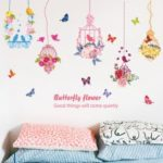 Birdcage Pattern Butterfly Wall Stickers Modern Style Color Decorative Wallpaper TV Backdrop Restaurant Entrance