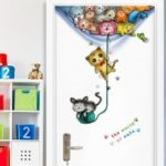 Cute Cat Pattern Restaurant Entrance Door Stickers Office Dormitory Bedroom Wall Stickers Decorative Background Pet Shop