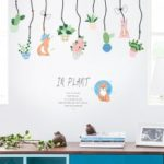 Potted Plants Charm Pattern Wall Sticker Fresh Entrance Door Restaurant Decorated Children's Room Bed Background Wallpaper