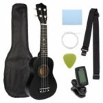 21 inch Ukelele Soprano 4 Strings Hawaiian Spruce Basswood Guitar Musical Instrument Set