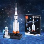 Kids Educational Toy Building Blocks Aerospace Series Teahouse Rocket Satellite Space Shuttle Lunar Rover Assemble Bricks Model Toys for Children