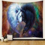 Space Sun And The Moon Totem Pattern Of Black And White Lion Tapestry Home Decoration