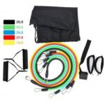 11 PCS Resistance Bands Sets Door Anchor Ankle Straps Cushioned Handles ResistanceTube Band For Home Gym Fitness Exercise