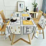 Light Luxury Nordic Style Digital Printing Thickened Cotton Linen Oilproof and Anti-fouling Tablecloth Table Cover Home Kitchen Decoration