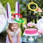 PVC Inflatable Rabbit Ear Shape Headband Kit Cute Gaming Head Ring Air-filled Toy with 4 Colorful Rings