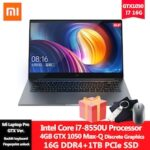 Xiaomi Mi Laptop Pro 15.6 inch GTX1050Max-Q 4GB DDR5 Intel Core I7-8550U 16G DDR4 1T PCIe SSD NoteBook With Backlit Keyboard Fingerprint unlock