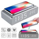 IN STOCK 1PC LED Electric Alarm Clock With Phone Charger Wireless Desktop Digital Thermometer Clock HD Clock Mirror Dropship