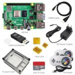 Raspberry Pi 4 Model B PI 4B  Board+Heat Sink+Power Adapter+Case +32GB SD+HDMI Cable+Gamepad