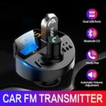 Car Fm transmitter Bluetooth 5.0 Car Mp3 Player modulator Adapter Battery Voltage TF Card hands-free Dual USB Smart chip