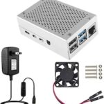 Conelz Raspberry Pi 4 Case with Fan  Aluminum Metal Case On/Off Switch 5V 3A USB-C Power Supply for Raspberry Pi 4 Model B