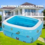 110/120/150cm Inflatable Square Water Swimming Pool Rectangle Family Swimming Pool Summer Kids Play Bathtub Inflatable Pool Outdoor Indoor