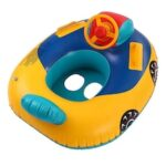Cartoon Swimming Ring Boat Ride For Children Swim Ring Baby Sitting Circle The Boat With The Direction Of The Steering Wheel Horn Car Boat